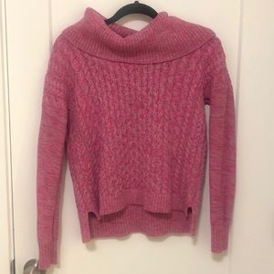 American Eagle Pink and Gray Cable Sweater